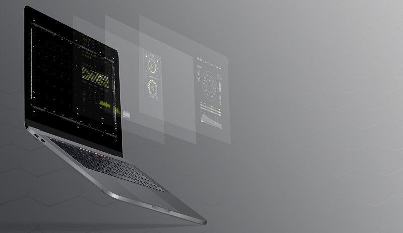 A very modern laptop with layered screens in 3D effect