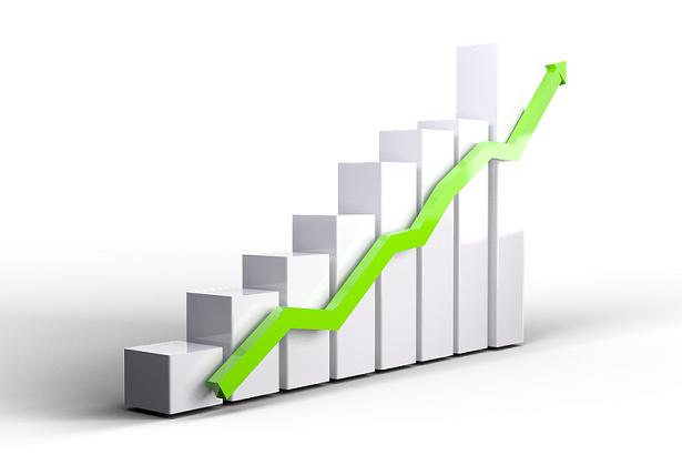 3D chart showing upward trend