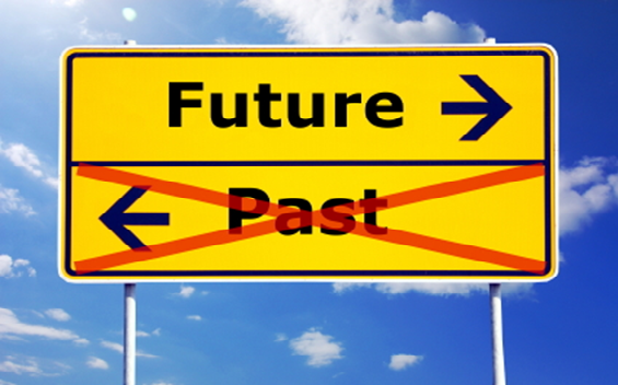 Past and Future sign-post - with past crossed out